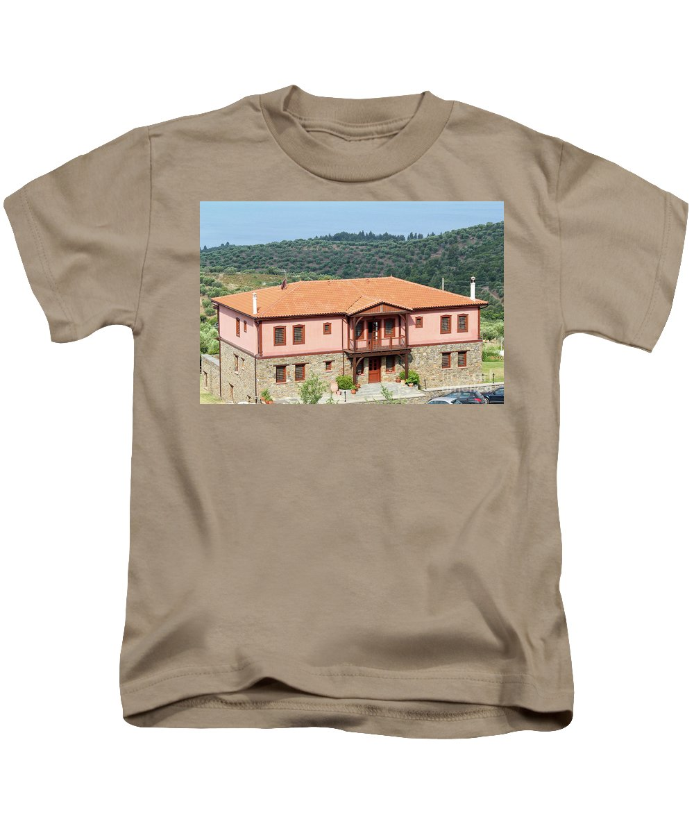 Tree Kids T-Shirt featuring the photograph old house Sithonia Greece summer vacation scene by Goce Risteski