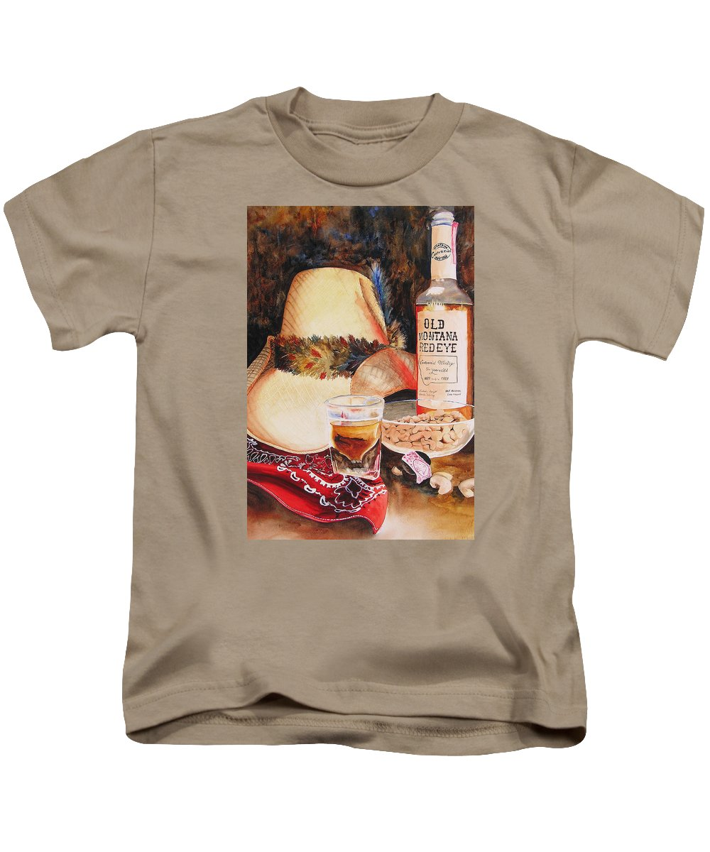 Whiskey Kids T-Shirt featuring the painting Old Montana Red Eye by Karen Stark