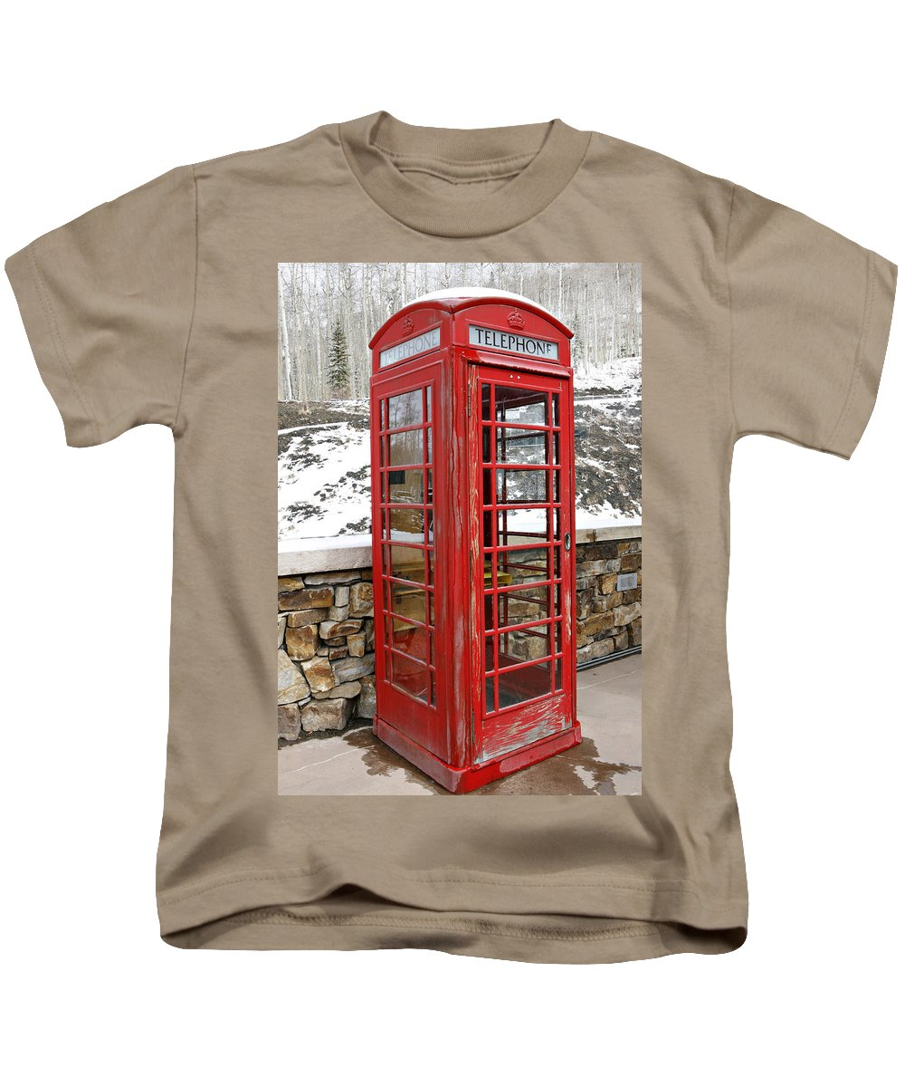 Communication Kids T-Shirt featuring the photograph Old Phone Booth by Marilyn Hunt