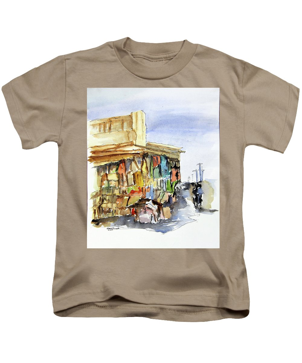 Architecture Kids T-Shirt featuring the painting Old Souk Kuwait City by Saqib Akhtar