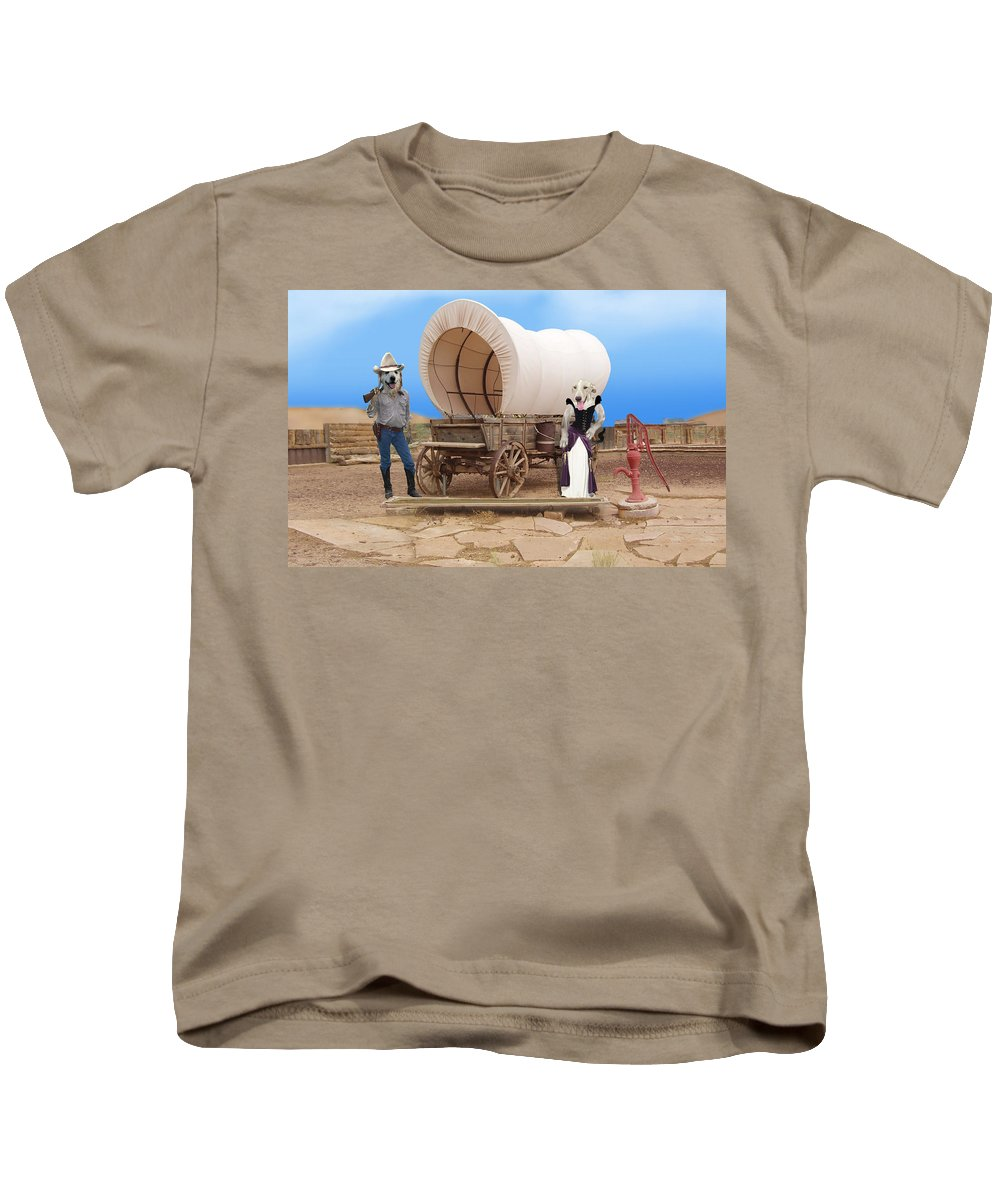 Dogs Kids T-Shirt featuring the photograph Old West Dogs by Gravityx9 Designs