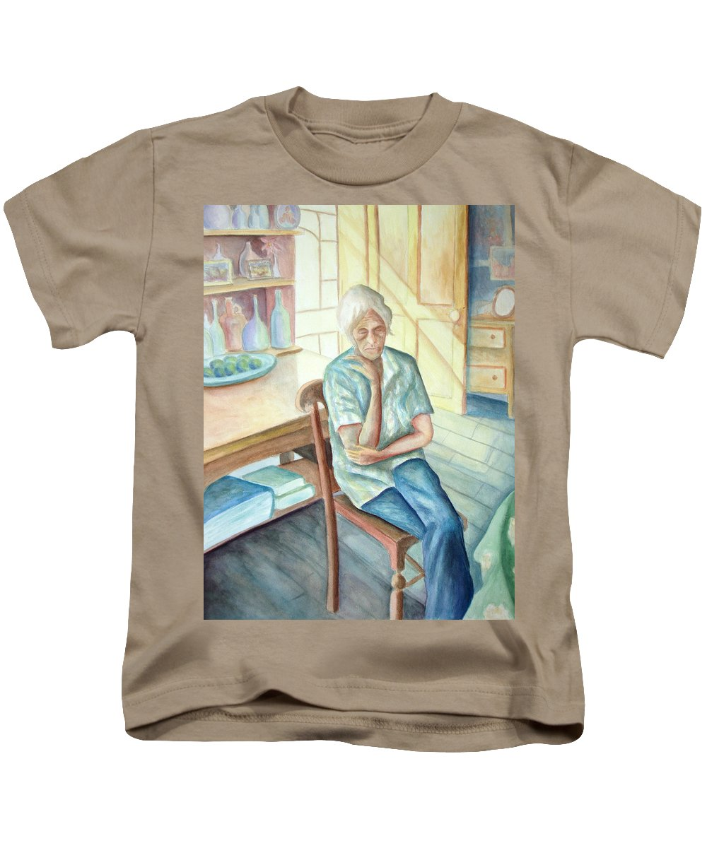 Woman Kids T-Shirt featuring the painting Old Woman by Nancy Mueller