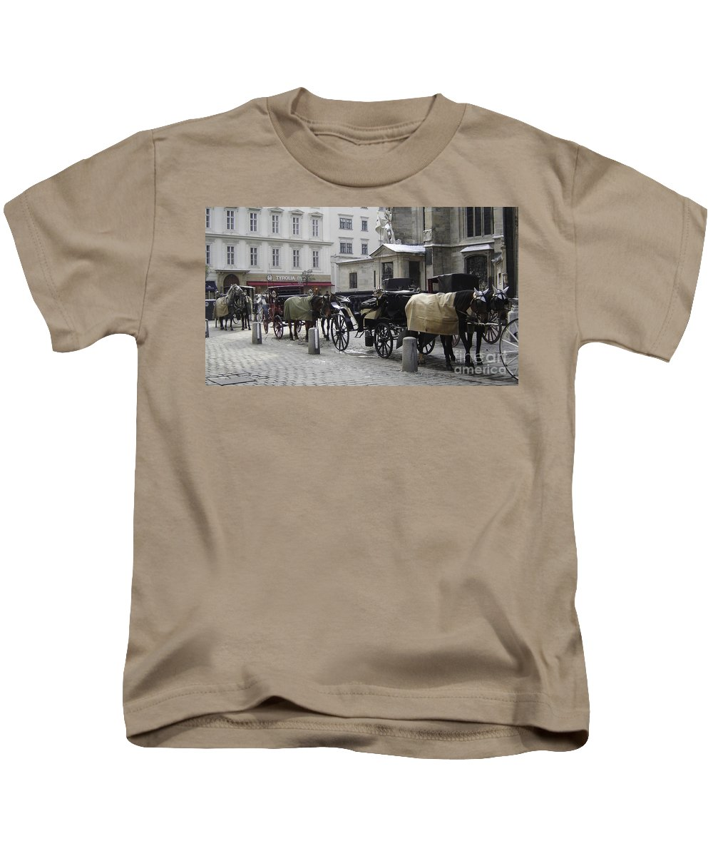 Horses Kids T-Shirt featuring the photograph On Call by Mary Rogers