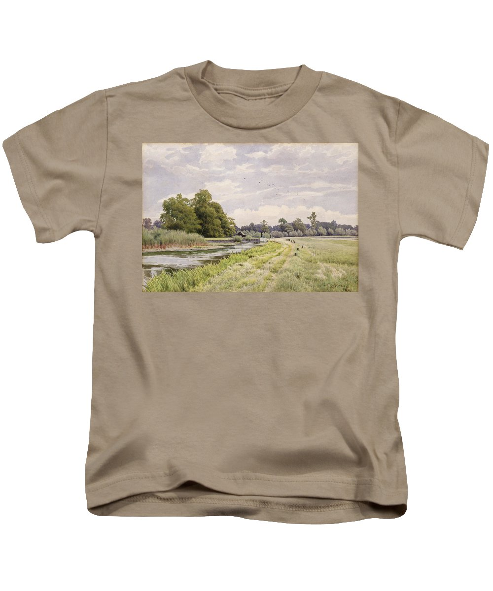 The Kids T-Shirt featuring the painting On The River Ouse Hemingford Grey by William Fraser Garden