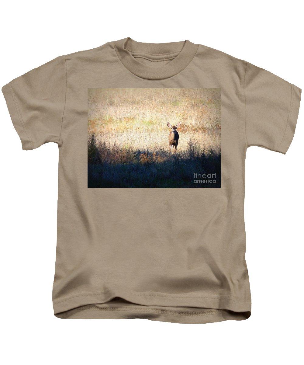 Wildlife Kids T-Shirt featuring the photograph One Cute Deer by Carol Groenen
