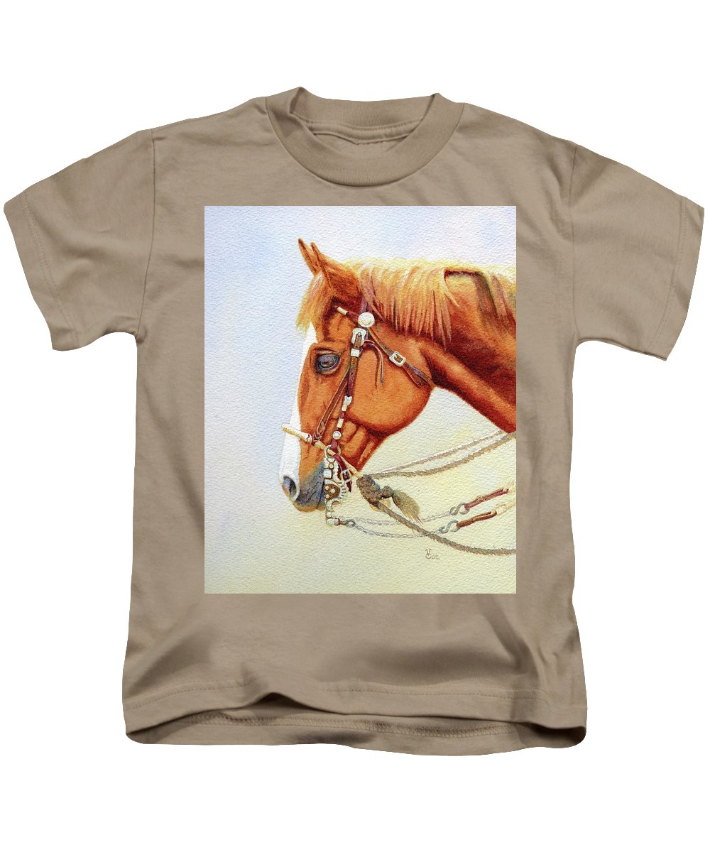 Horse Kids T-Shirt featuring the painting One Tricked Out Cowpony by Valerie Coe