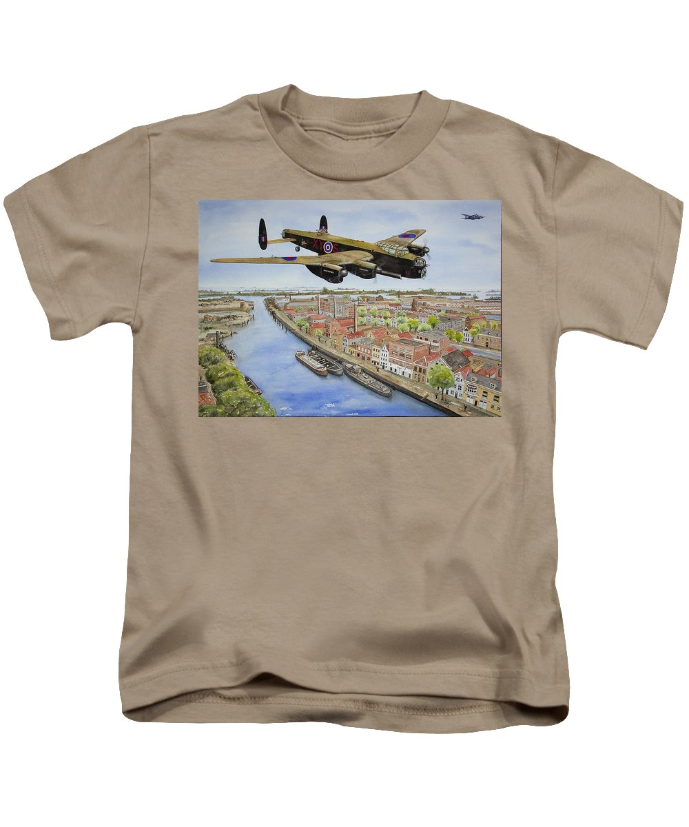 Lancaster Bomber Kids T-Shirt featuring the painting Operation Manna II by Gale Cochran-Smith