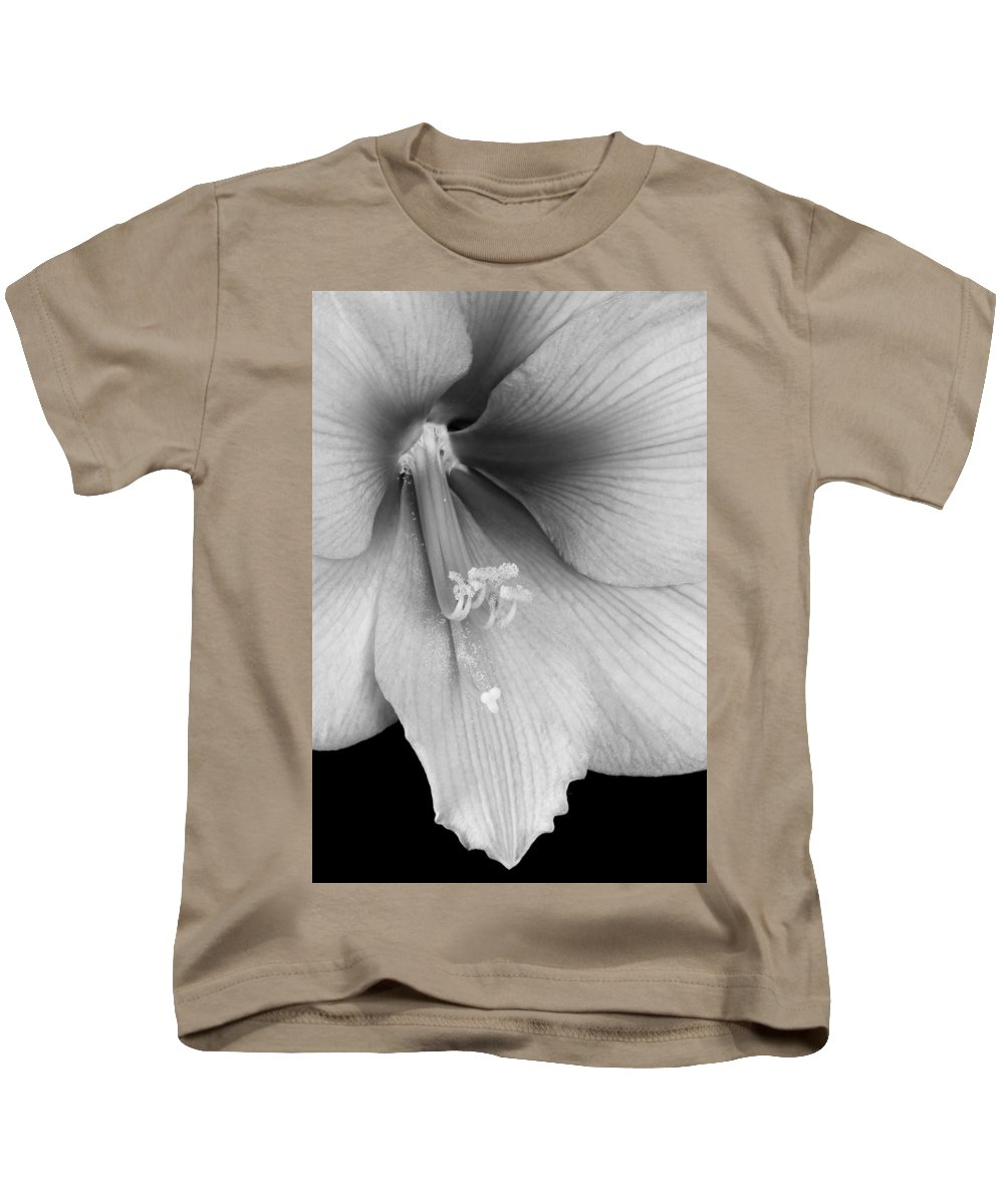 Amaryllis Kids T-Shirt featuring the photograph Orange Amaryllis Hippeastrum Bloom 12-29-10 Bw by James BO Insogna