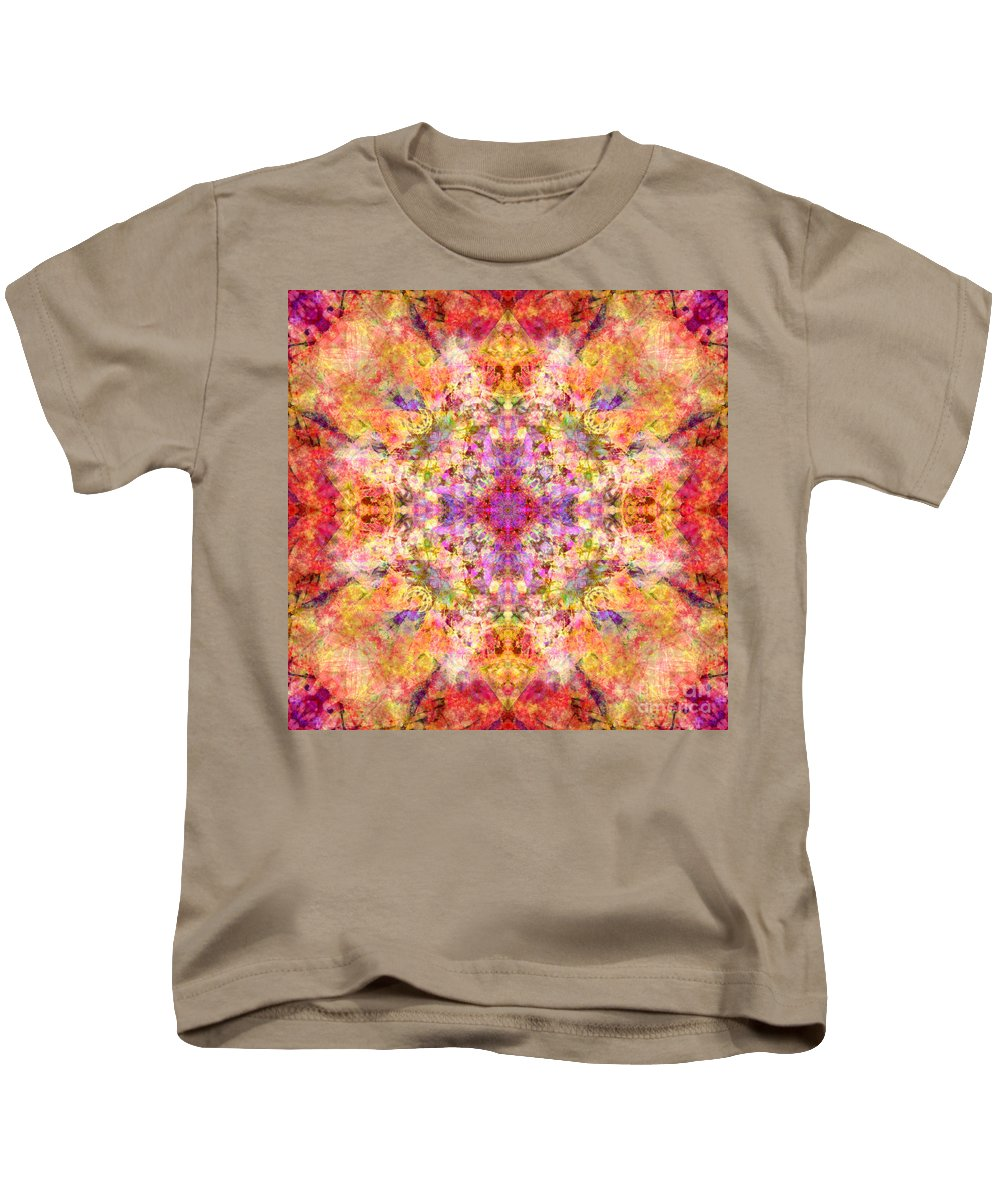 Mandala Kids T-Shirt featuring the digital art Orange Flower Mandala by Susan Bloom