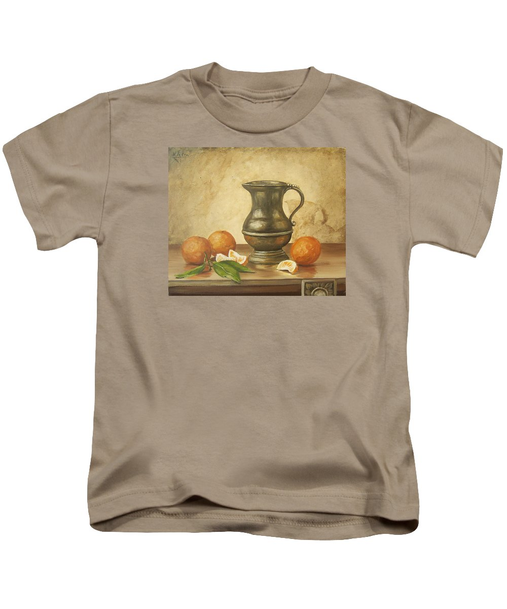 Still Life Kids T-Shirt featuring the painting Oranges by Natalia Tejera
