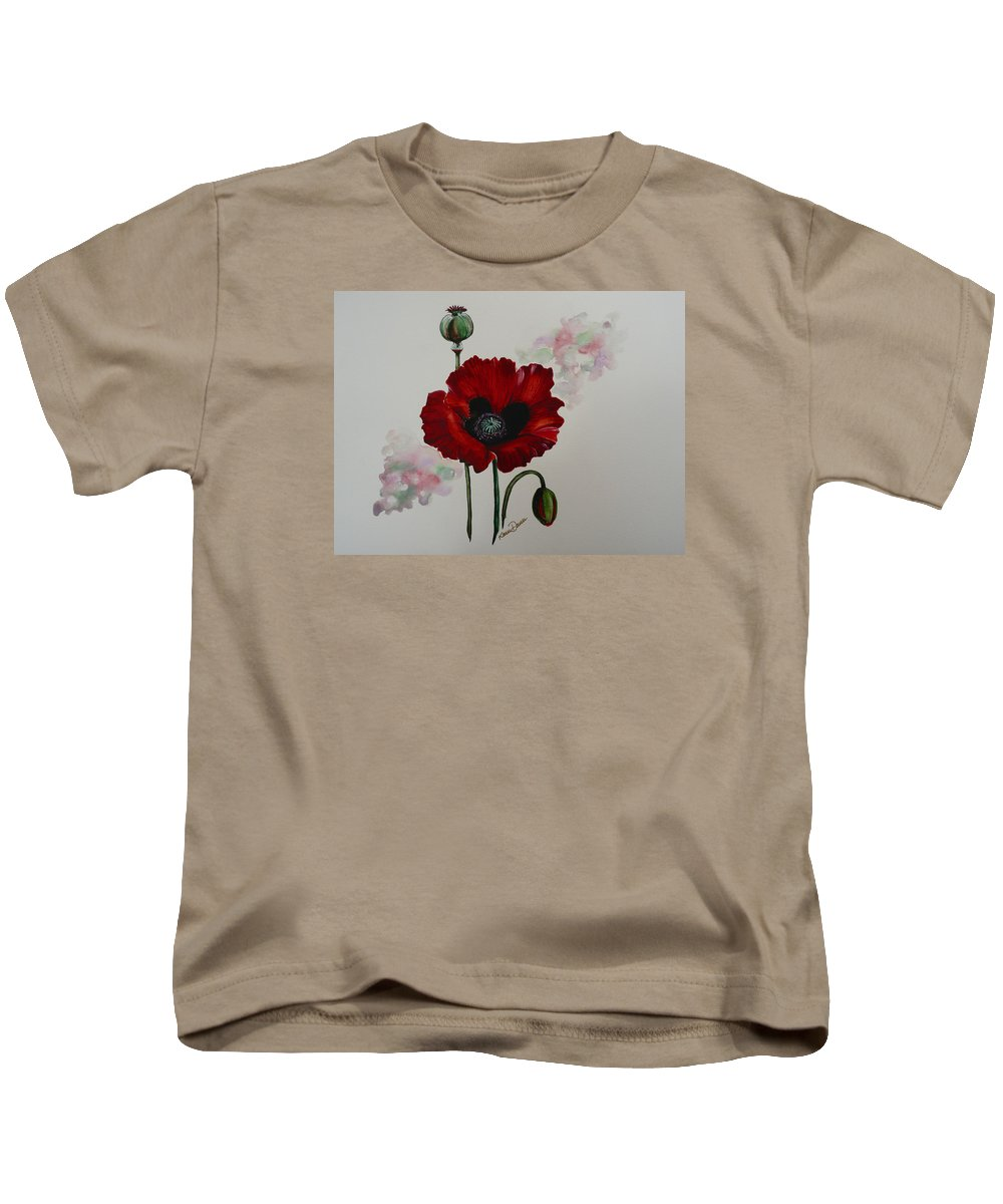 Floral Poppy Red Flower Kids T-Shirt featuring the painting Oriental Poppy by Karin Dawn Kelshall- Best