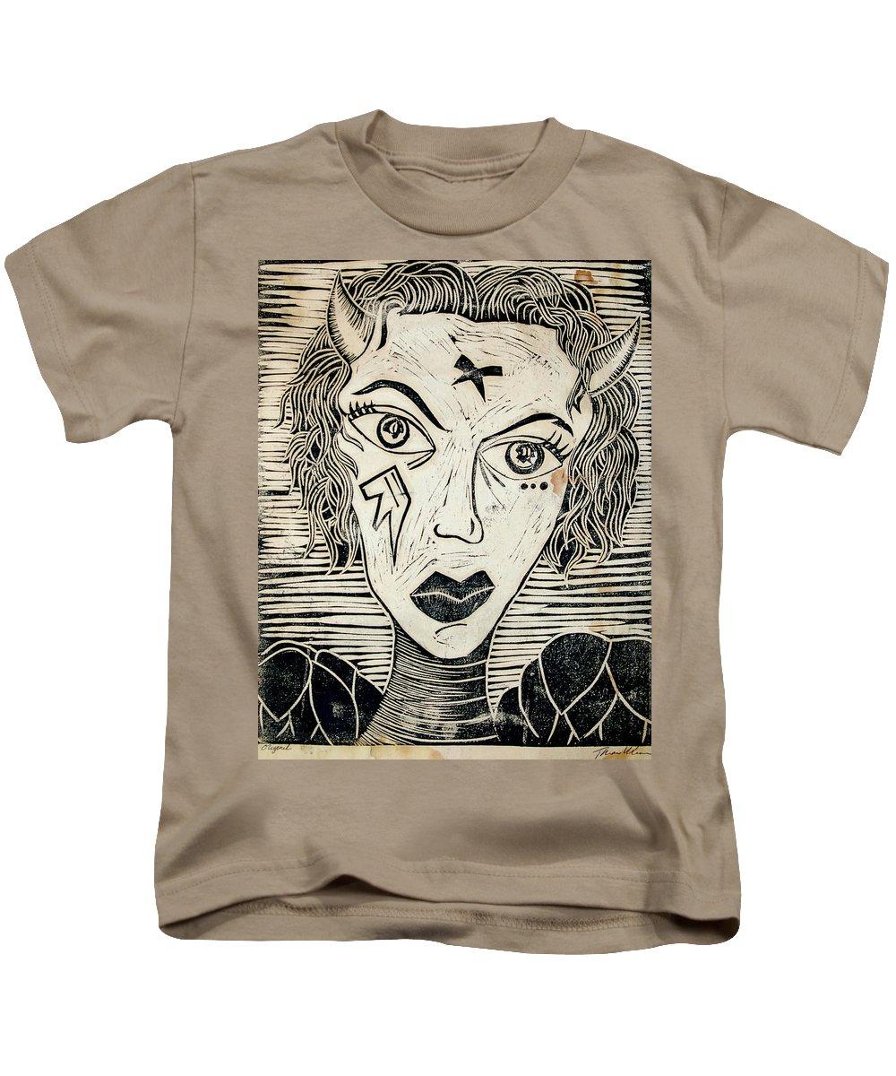 Block Print Kids T-Shirt featuring the print Original Devil Block Print by Thomas Valentine