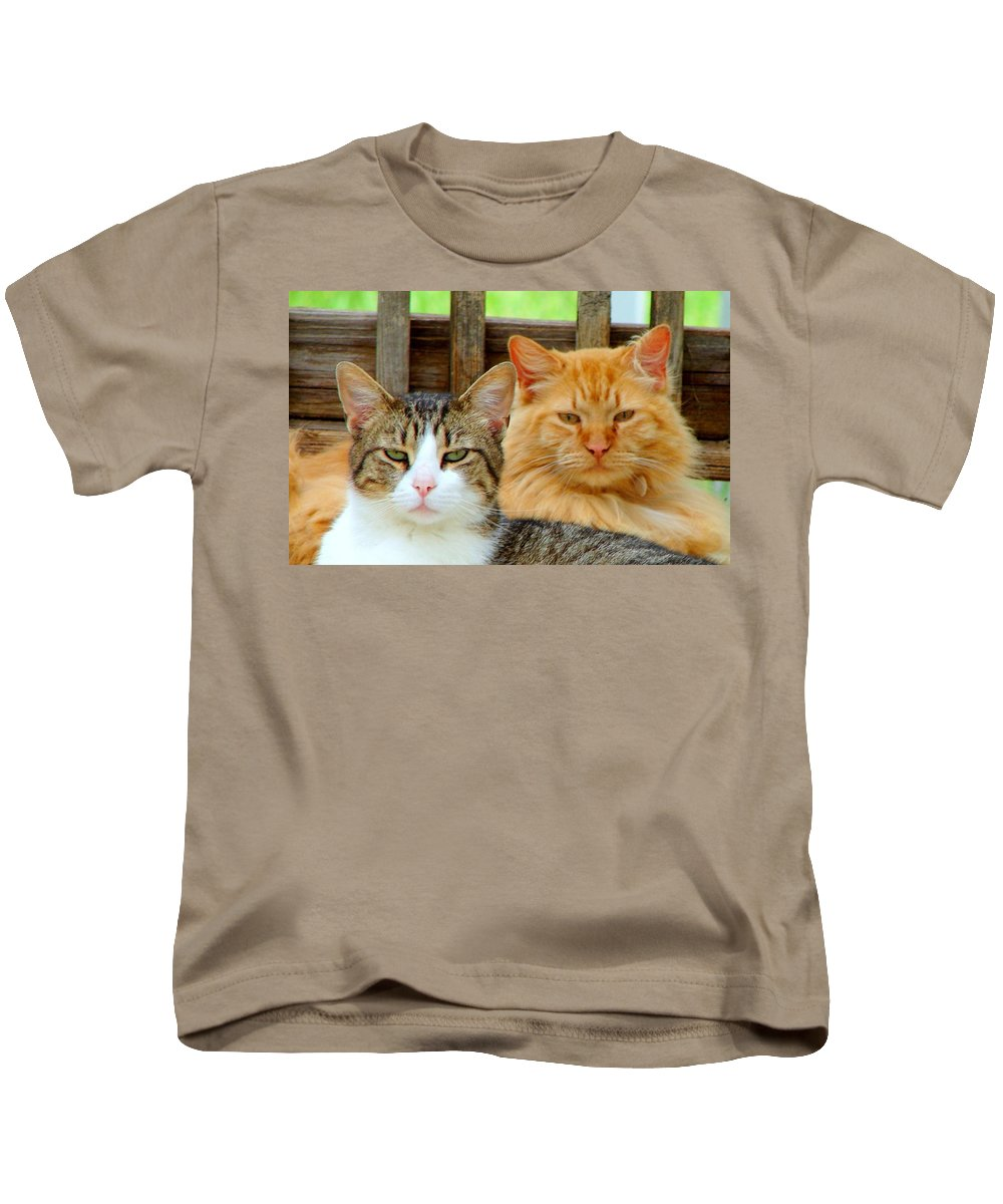 Cats Kids T-Shirt featuring the photograph Oscar And Red by J R Seymour