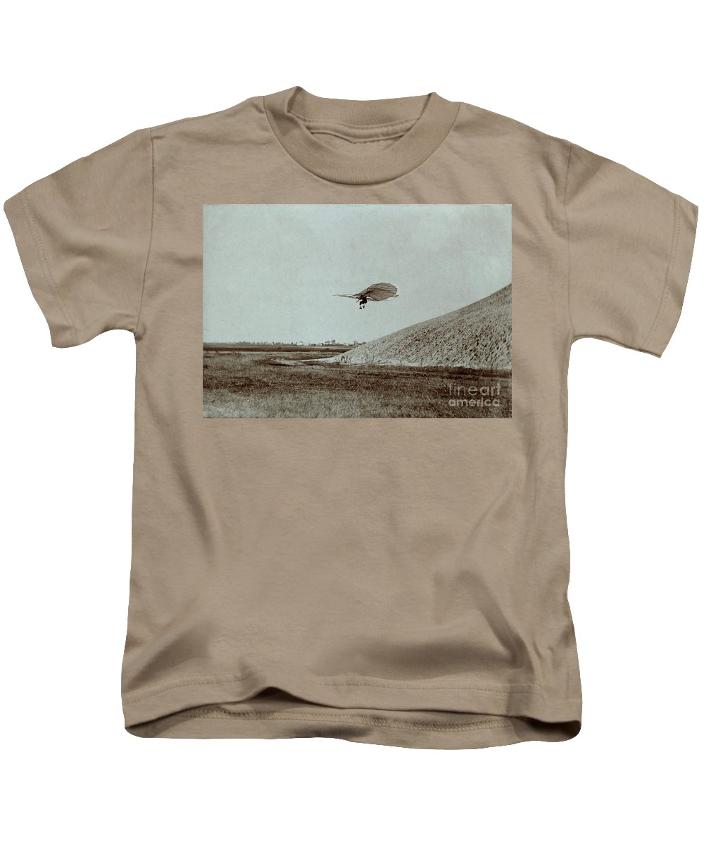 Otto Lilienthal Gliding Experiment Kids T-Shirt featuring the photograph Otto Lilienthal Gliding Experiment by R Muirhead Art