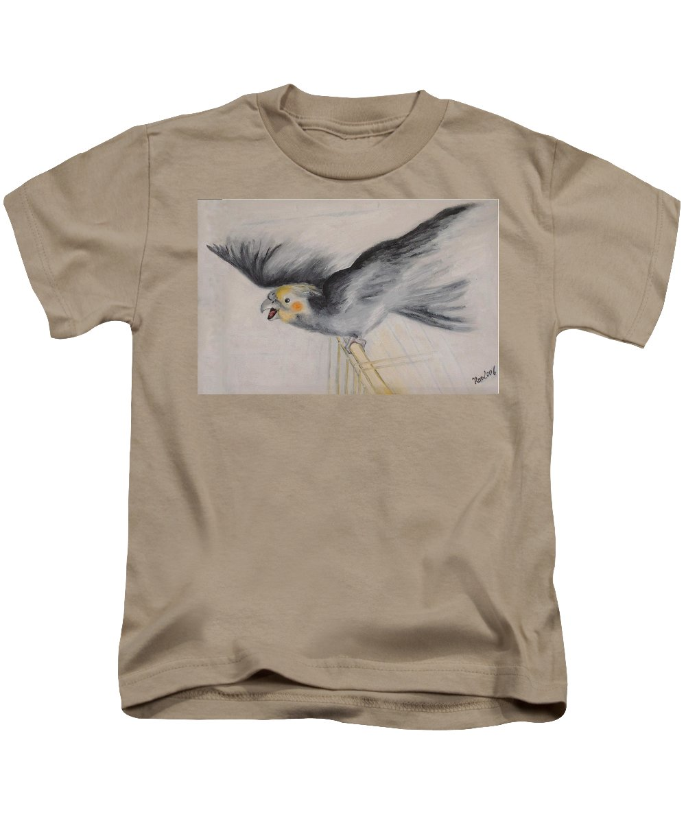 Cockatiel.pet Kids T-Shirt featuring the painting our cockatiel Coco by Helmut Rottler