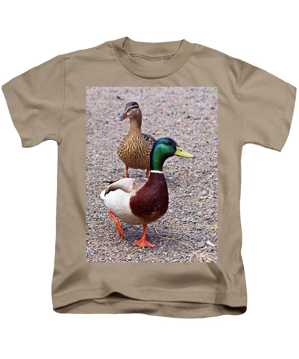 Mallard Drake Kids T-Shirt featuring the photograph Out For A Walk by Randall Ingalls
