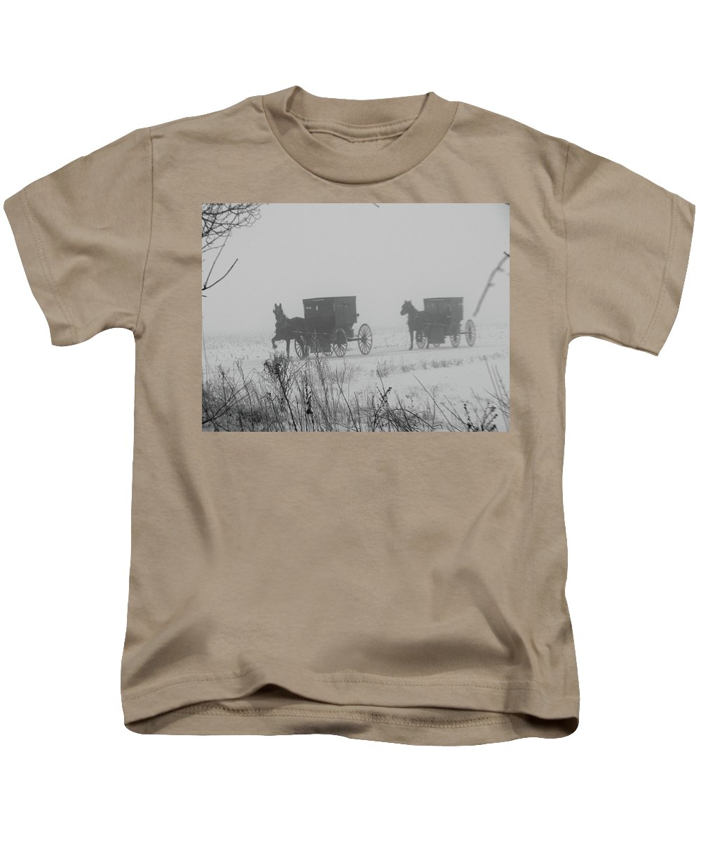 Amish Kids T-Shirt featuring the photograph Out Of The Fog by David Arment