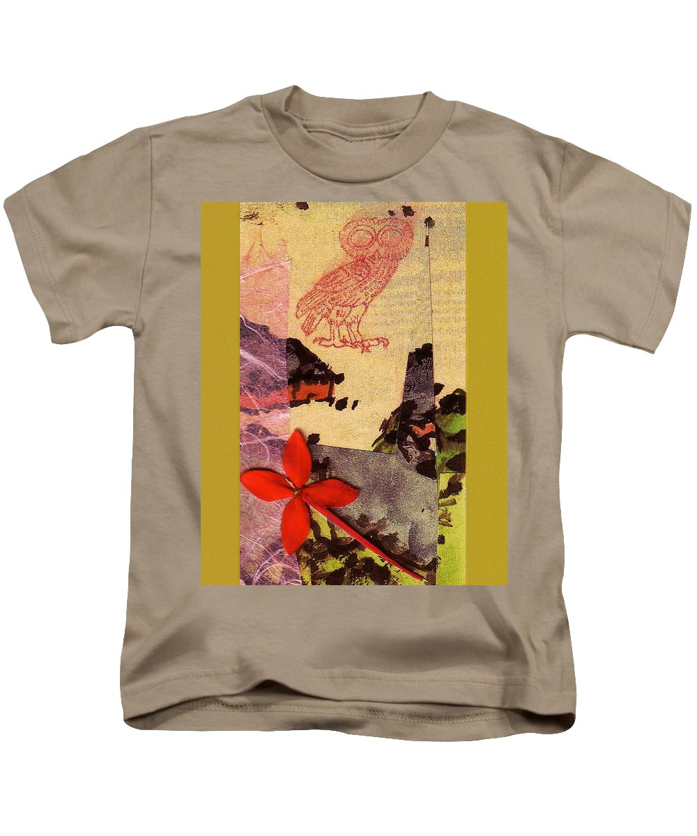 Collage Kids T-Shirt featuring the digital art Owl Know by John Vincent Palozzi