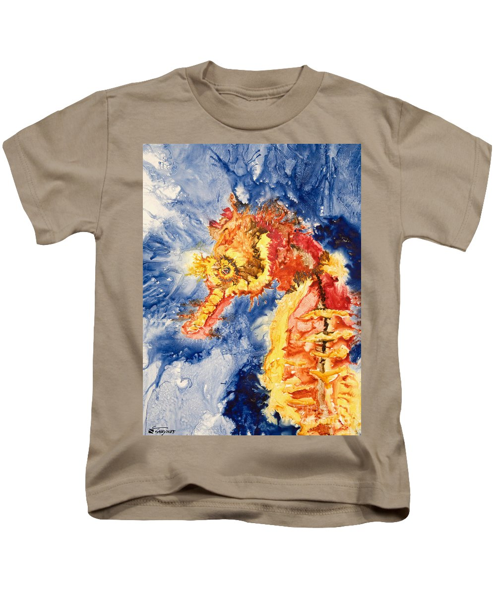 Animal Art Kids T-Shirt featuring the painting Pacific Seahorse by Tanya L Haynes - Printscapes