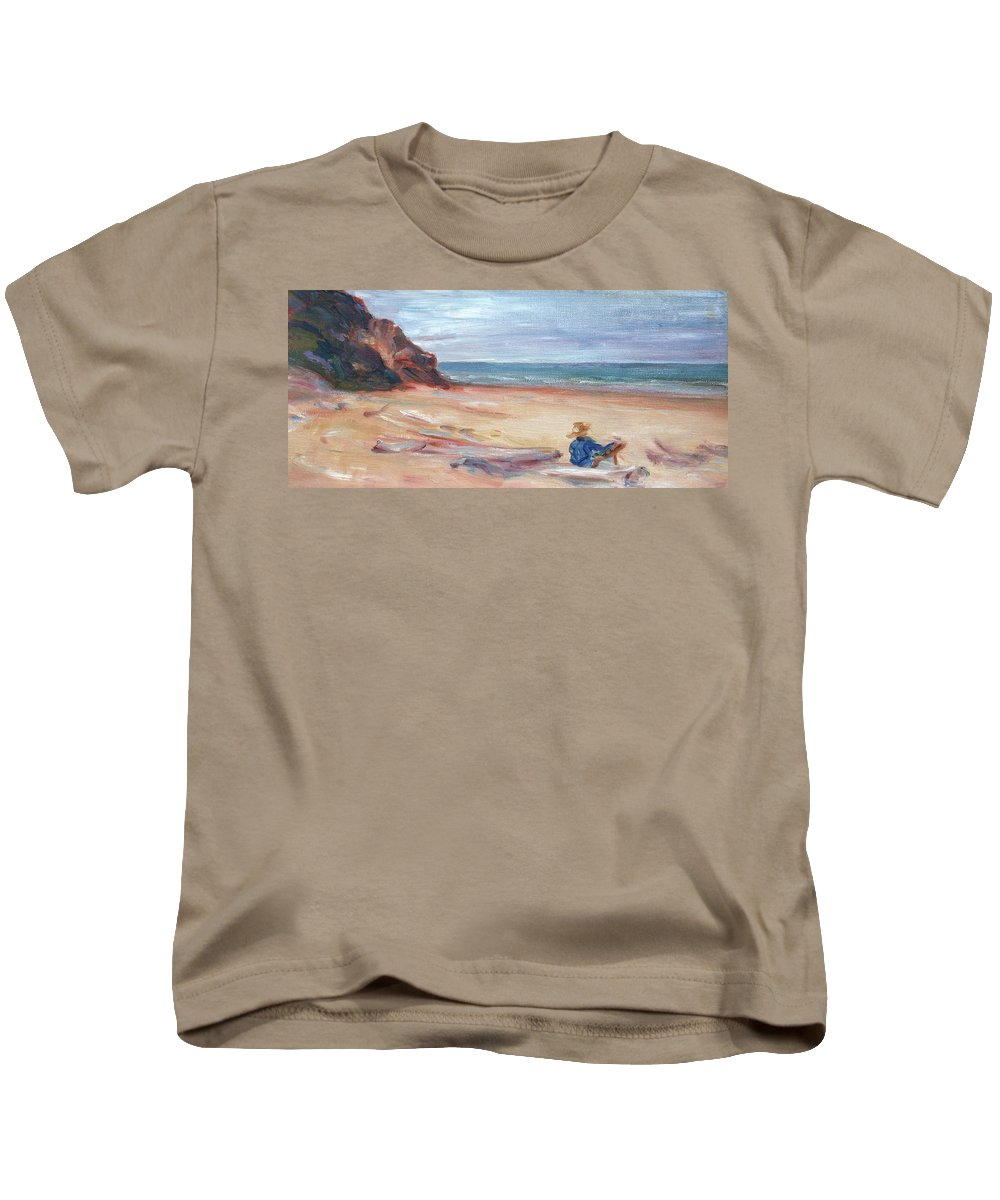 Impressionism Kids T-Shirt featuring the painting Painting The Coast - Scenic Landscape With Figure by Quin Sweetman