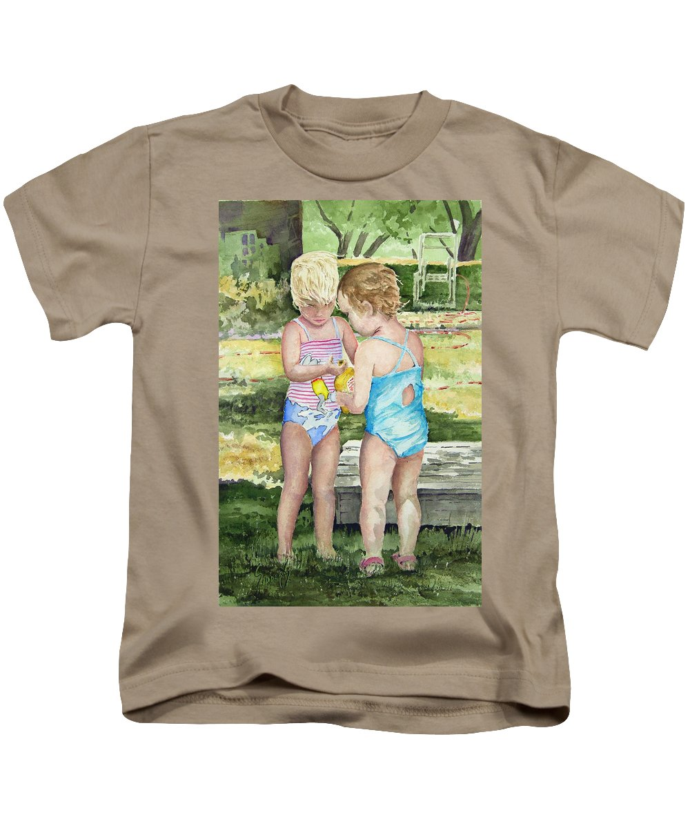 Children Kids T-Shirt featuring the painting Pals Share by Sam Sidders