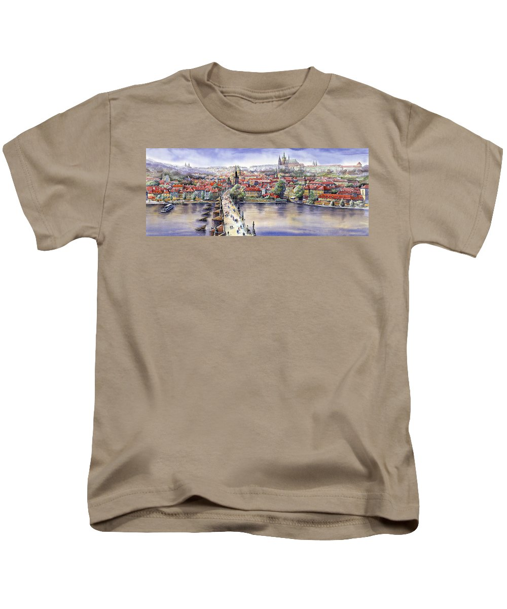 Watercolour Kids T-Shirt featuring the painting Panorama With Vltava River Charles Bridge And Prague Castle St Vit by Yuriy Shevchuk