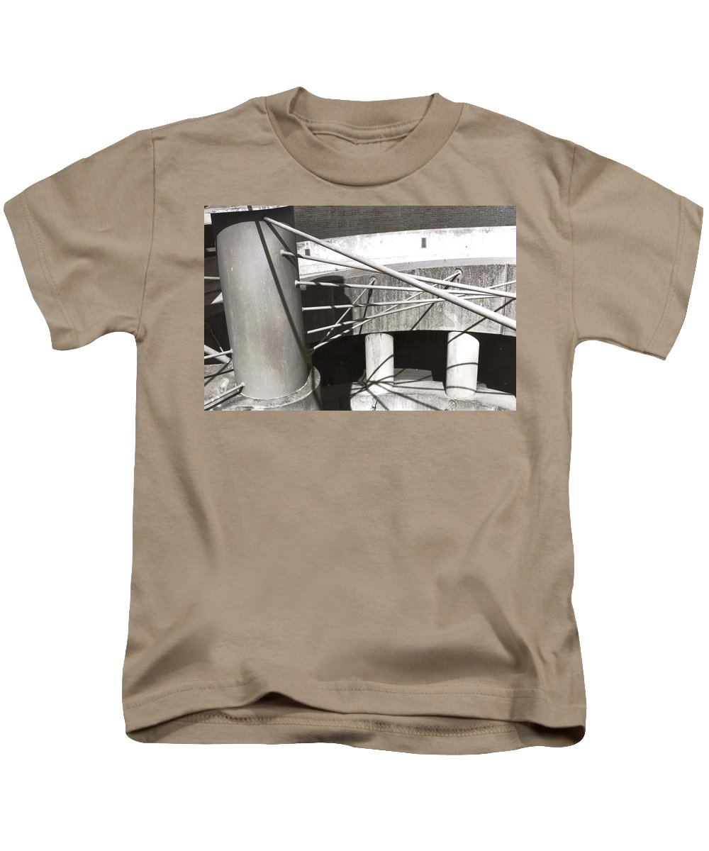 Black And White Photograph Kids T-Shirt featuring the photograph Parking Garage by Thomas Valentine