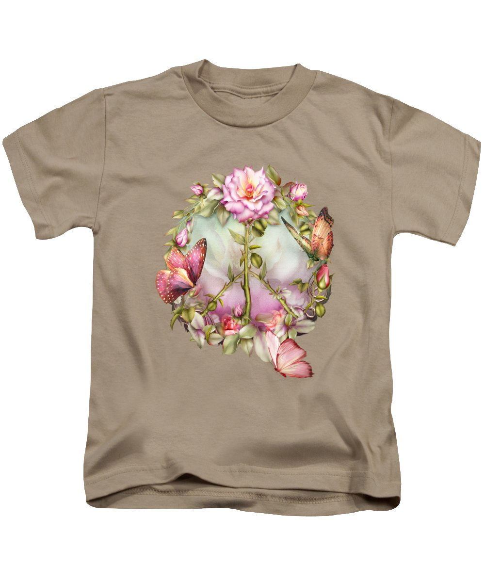 Rose Kids T-Shirt featuring the mixed media Peace Rose by Carol Cavalaris