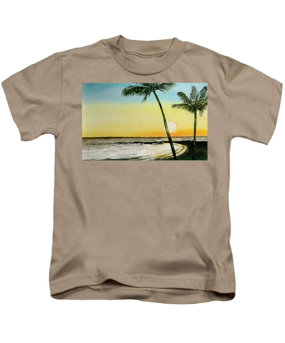 Watercolor Kids T-Shirt featuring the painting Peaceful Palms by Brenda Owen