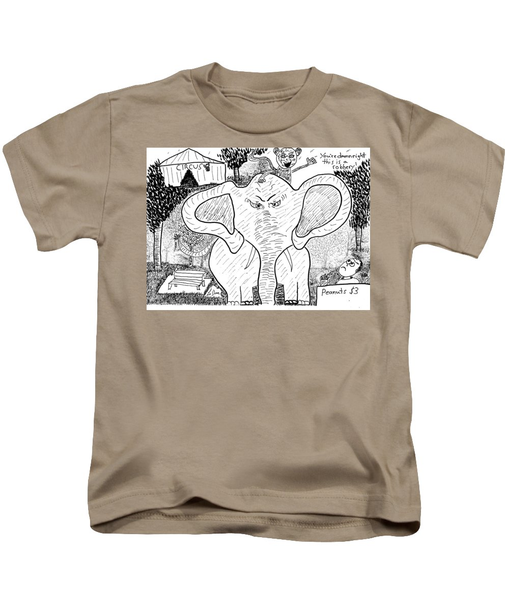 Cartoon Kids T-Shirt featuring the drawing Peanut Stand Robbery by Aaron LeDuc