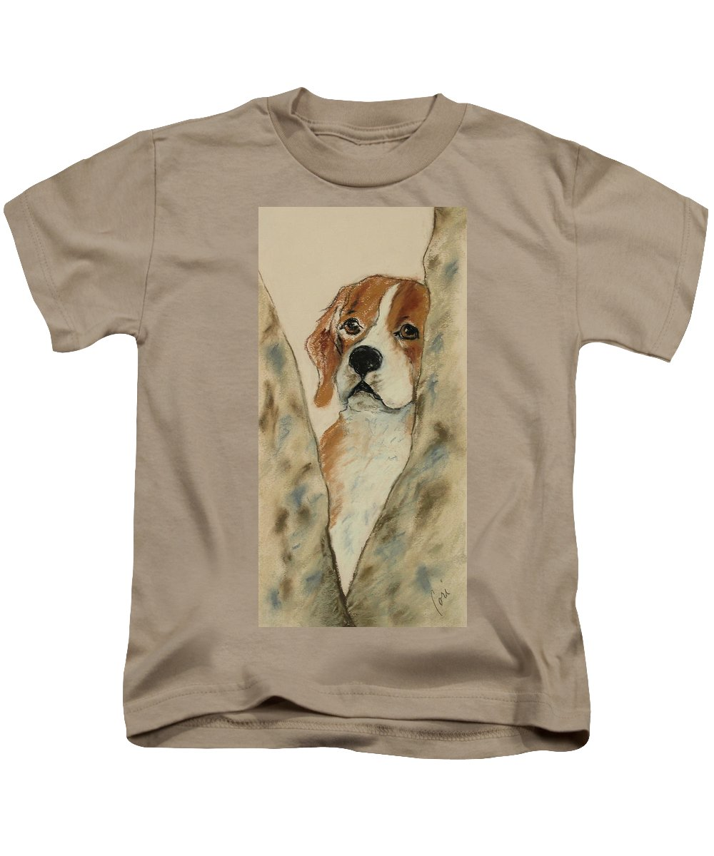 Beagle Kids T-Shirt featuring the drawing Peek A Boo by Cori Solomon