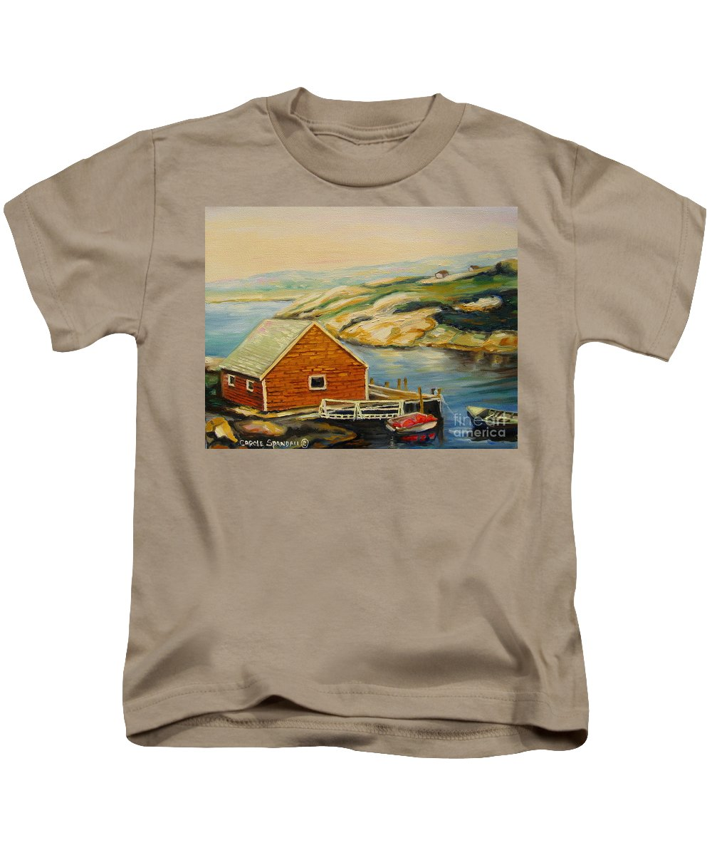 Peggy's Cove Harbor View Kids T-Shirt featuring the painting Peggys Cove Harbor View by Carole Spandau