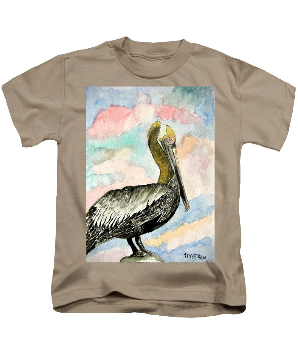 Watercolor Kids T-Shirt featuring the painting Pelican 2 by Derek Mccrea