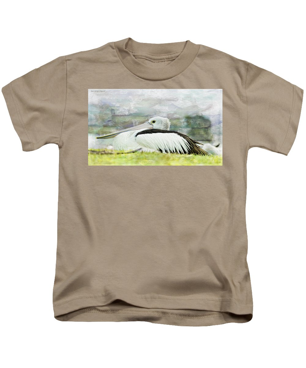 Pelicans Kids T-Shirt featuring the photograph Pelican Art 0006 by Kevin Chippindall