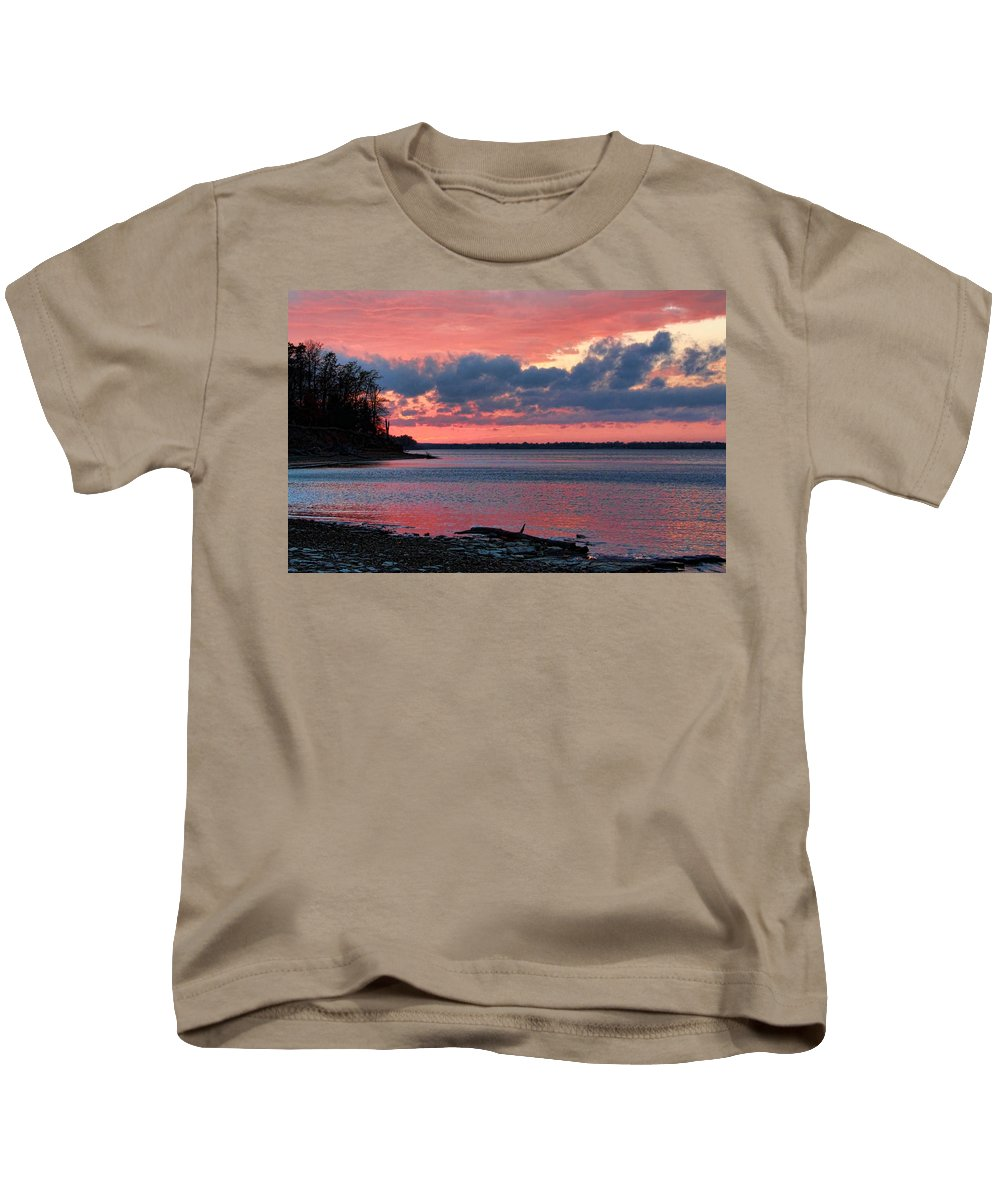 Sunset Kids T-Shirt featuring the photograph Pink And Blue Sunset by Carolyn Fletcher