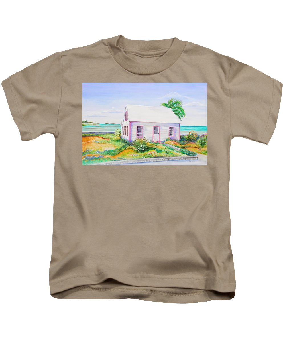 Seaside Cottage Kids T-Shirt featuring the painting Pink Cottage by Patricia Piffath