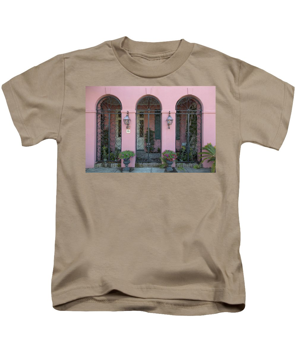 Charleston Kids T-Shirt featuring the photograph Pink House by Nancy Dunivin