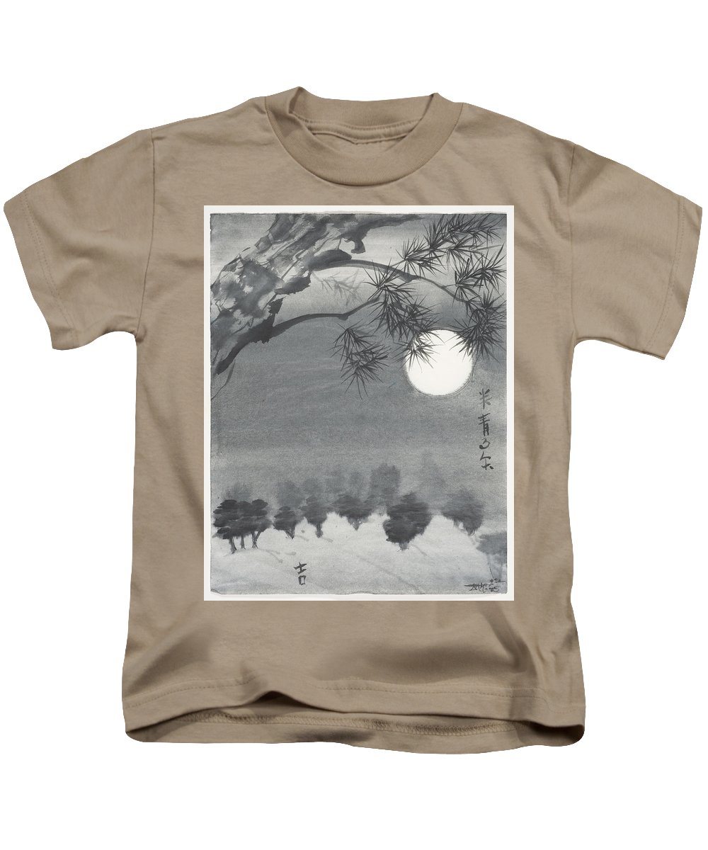 Sumi-e Painting Kids T-Shirt featuring the painting Pinyon Forest by James Malone