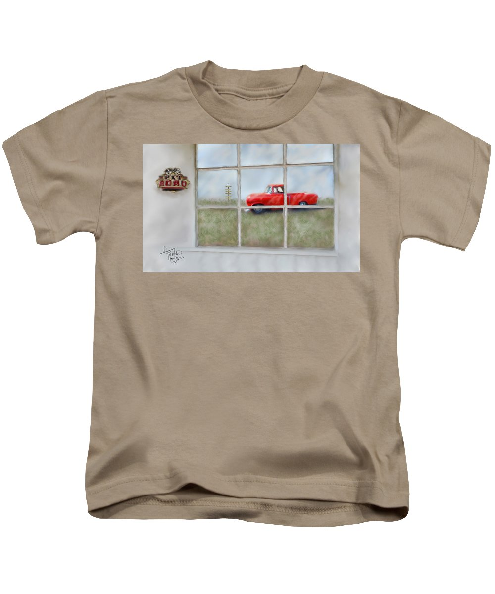 Truck Kids T-Shirt featuring the painting Pit Road--fire And Ice by Colleen Taylor