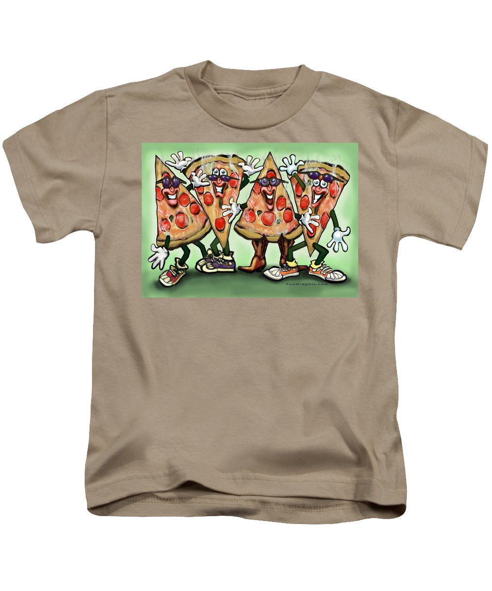 Pizza Kids T-Shirt featuring the digital art Pizza Party by Kevin Middleton