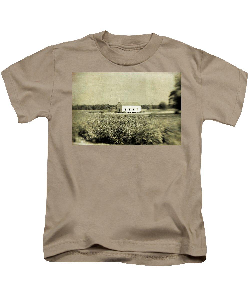 Church Kids T-Shirt featuring the photograph Plantation Church - Sepia Texture by Scott Pellegrin