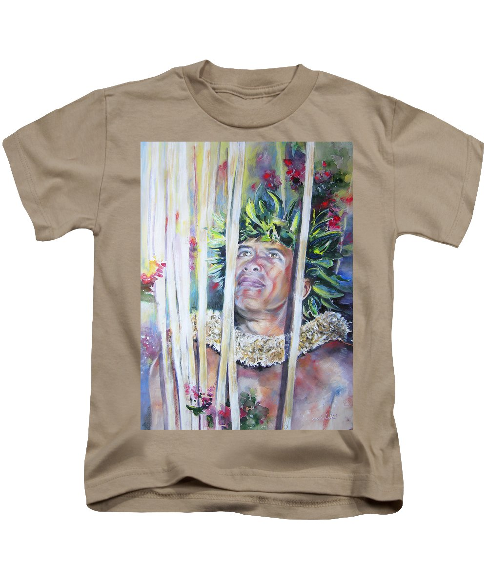 Polynesia Kids T-Shirt featuring the painting Polynesian Maori Warrior With Spears by Miki De Goodaboom