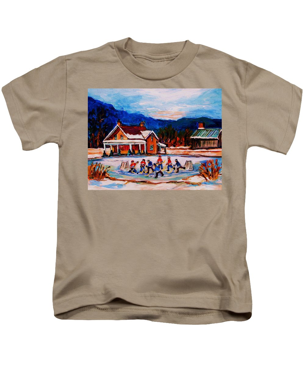Hockey Kids T-Shirt featuring the painting Pond Hockey by Carole Spandau