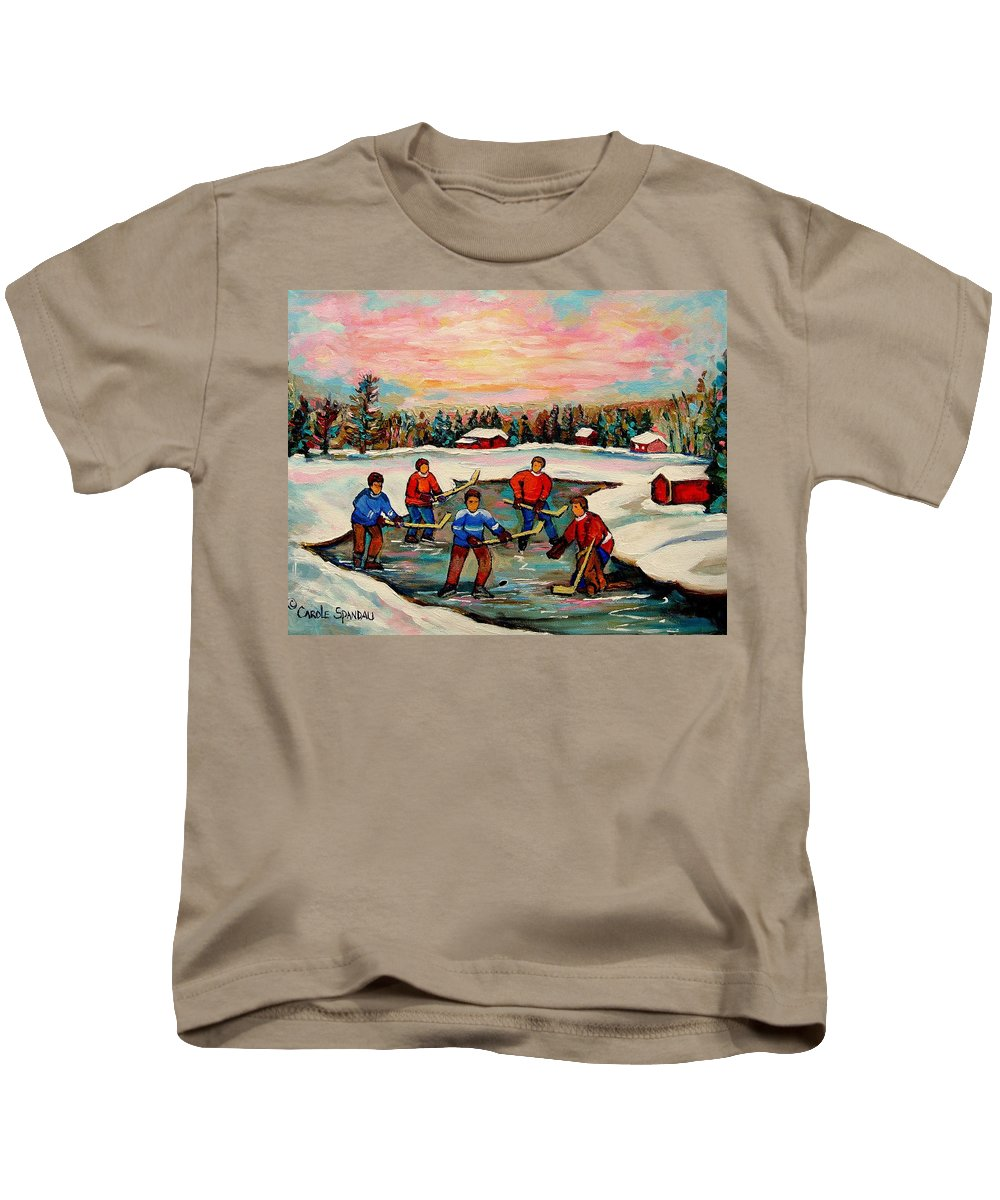 Montreal Kids T-Shirt featuring the painting Pond Hockey Countryscene by Carole Spandau