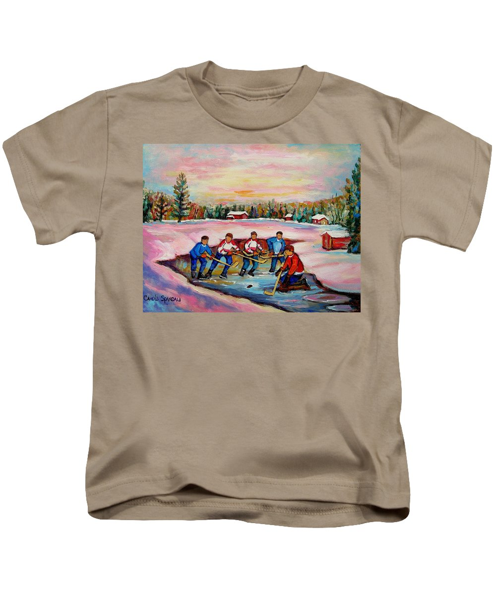 Pond Hockey Kids T-Shirt featuring the painting Pond Hockey Warm Day by Carole Spandau