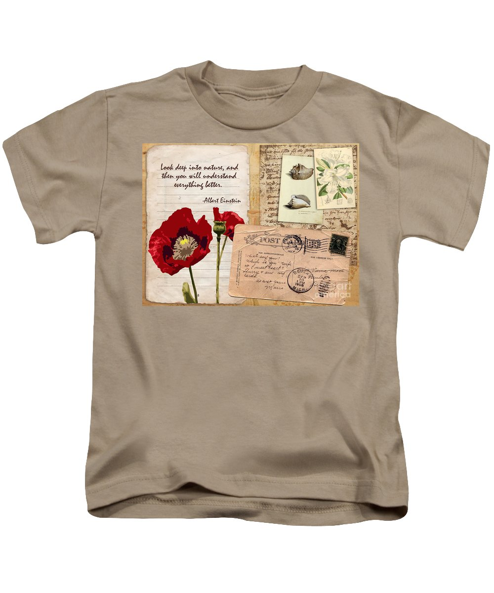 Poppy Vintage Postcard Antique Einstein Kids T-Shirt featuring the mixed media Poppies And Postcards by Samitha Edwards