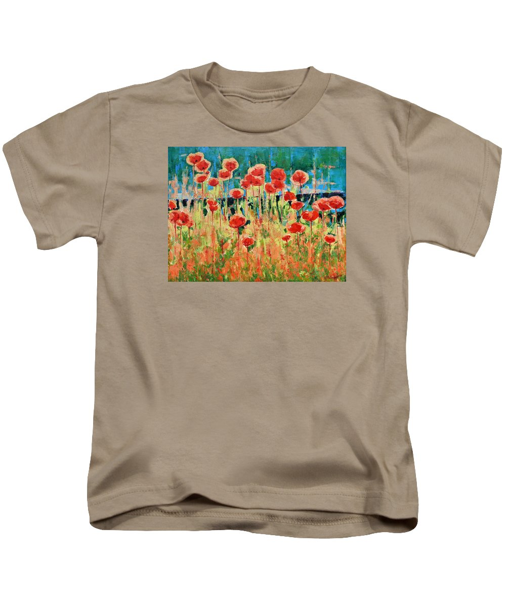 Poppies Kids T-Shirt featuring the painting Poppies And Traverses 2 by Iliyan Bozhanov