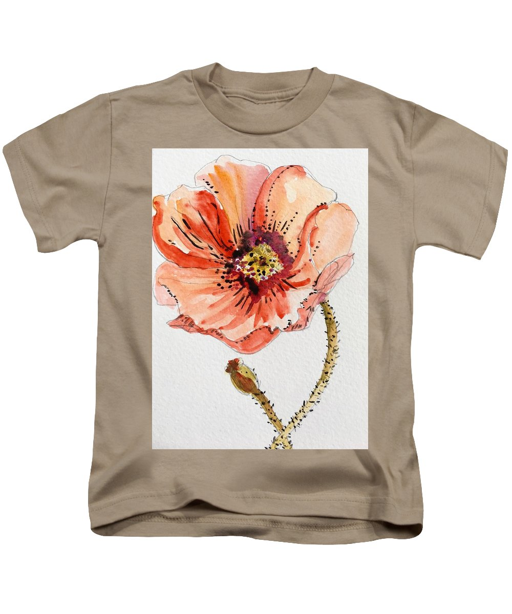 Poppies Kids T-Shirt featuring the painting Poppy #2 by Filomena Irving