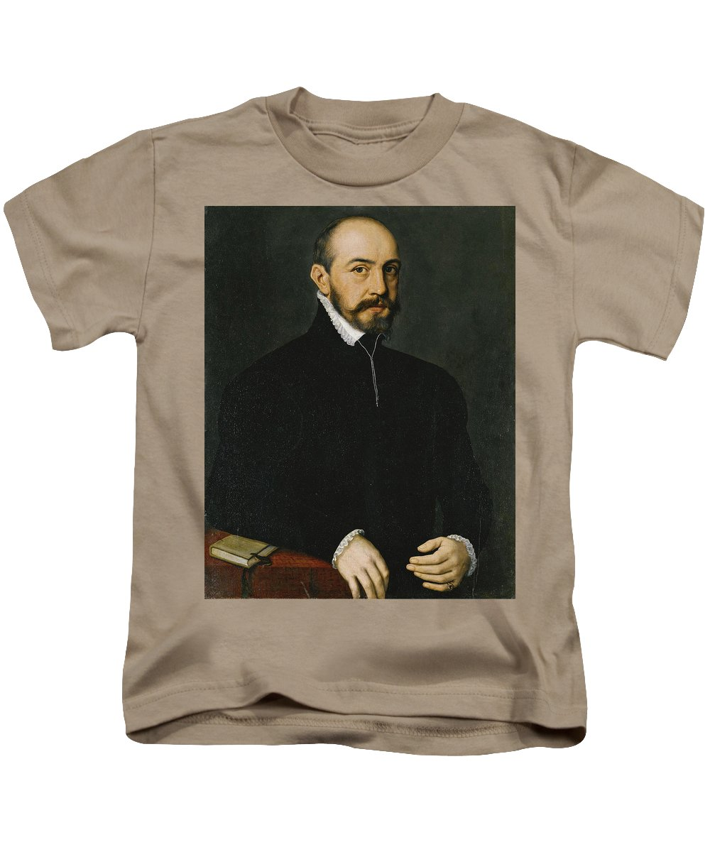 Anthonis Mor Kids T-Shirt featuring the painting Portrait Of A Gentleman Half-length Wearing A Black Suit by Anthonis Mor