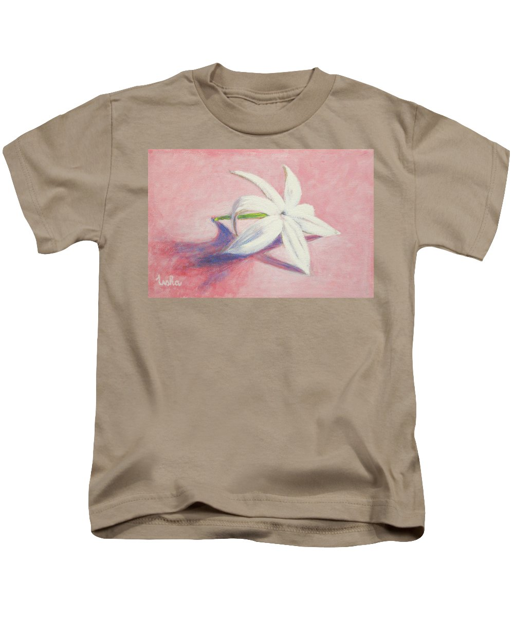 Portrait Kids T-Shirt featuring the painting Portrait Of The Jasmine Flower by Usha Shantharam